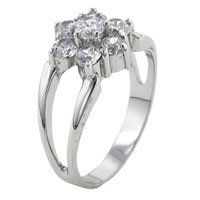 Rings - multi flower sterling silver cz engagement right hand ring Image.