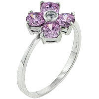Rings - size8  pink cz flower sterling silver ring gift fashion jewelry Image.