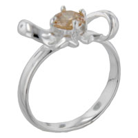 Rings - size8  round cz topaz bow sterling silver ring gift jewelry fashion Image.