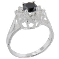 Rings - size8  round onyx &  cz sterling silver ring gift fashion jewelry Image.