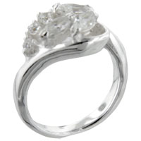 Sterling Silver Jewelry - fashion marquise &  round cut cz 925  sterling silver ring jewelry Image.