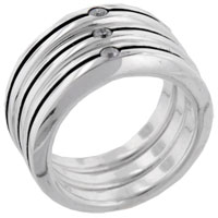 Rings - classic round cut stripe trio band 925  sterling silver clear cz ring Image.