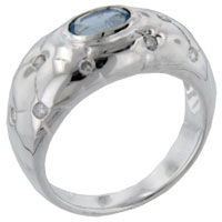 Rings - size8  oval cz aquamarine quilt sterling silver jewelry ring gift fashion Image.