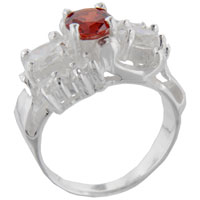 Sterling Silver Jewelry - size8  round cz citrine sleigh sterling silver ring gift fashion jewelry Image.