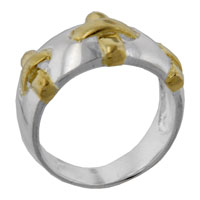 Rings - gold plated stitch sterling silver ring Image.