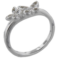 Rings - size8  round cz butterfly duo sterling silver ring gift fashion jewelry Image.