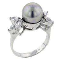 Mother Of Pearl Jewelry - size 7  silver freshwater cultured pearl rings for fashion women Image.