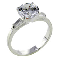 Rings - size9  round cz baguettes sterling silver ring fashion jewelry Image.
