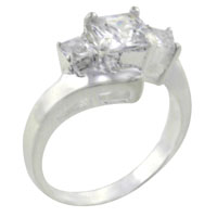 Rings - square triple cz sterling silver ring gift fashion jewelry size  9 Image.
