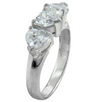 Rings - classic size9  triple heart cz 925  sterling silver ring gift jewelry Image.