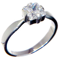 Rings - square clear crystal cz sterling silver ring size 9  fashion jewelry Image.