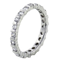 Rings - fashion round clear cz band 925  sterling silver right hand ring Image.