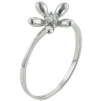 Sterling Silver Jewelry - round cut cz daisy ring Image.