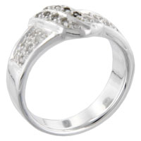 Rings - round cut cz scroll right hand ring Image.