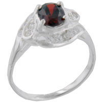Sterling Silver Jewelry - oval cut cz garnet twist ring Image.