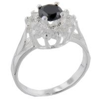 Rings - size9  round onyx &  cz sterling silver ring gift jewelry fashion Image.