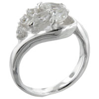 Sterling Silver Jewelry - marquise &  round cut cz ring Image.