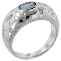 Rings - size9  oval cz aquamarine quilt sterling silver jewelry ring gift fashion Image.