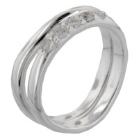 Rings - round cut curve set band sterling silver cz right hand ring Image.