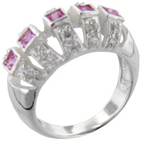 Sterling Silver Jewelry - square cut pink cz canopy ring Image.