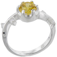 Rings - size9  round citrine sterling silver ring gift fashion jewelry Image.