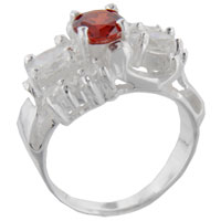 Sterling Silver Jewelry - size9  round cz citrine sleigh sterling silver ring gift fashion jewelry Image.