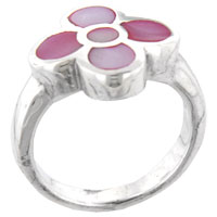Mother Of Pearl Jewelry - pink daisy mother of pearl ring Image.