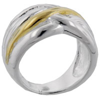 Rings - gold tone weave sterling silver ring Image.