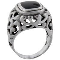 Rings - size9  princess cut onyx vine ring Image.