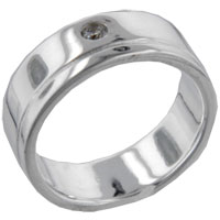 Rings - round cut grooved band sterling silver cz right hand ring Image.