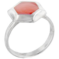 Rings - size9  pink hexagonal red coral shell sterling silver jewelry ring gift fashion Image.