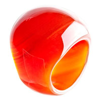 Rings - red classic round smooth agate ring Image.