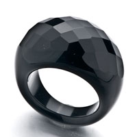 Rings - black noble cut round agate ring Image.