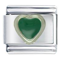 Italian Charms - heart green &  love italian charm bracelet Image.