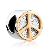 Charms Beads - silver plated golden peace logo european bead charms bracelets Image.