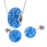 Sterling Silver Jewelry - 925 sterling silver sapphire blue charm set swarovski element crystal ball necklace bead stud earrings 3 pieces choose color pendant Image.