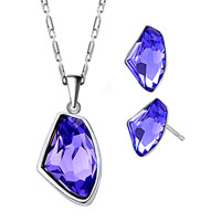 Earrings - february birthstone amethyst cz utopian drop pendant earrings set Image.