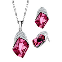 Necklace & Pendants - october birthstone rose cz crystal pendant earrings set great gifts Image.