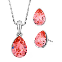 Necklace & Pendants - fashion indian pink cz crystal drop pendant earrings sets gift Image.