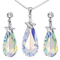 Necklace & Pendants - beautiful color light swarovski crystal drop pendant earrings set knot Image.
