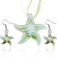 Murano Glass Jewelry - 3  pcs green starfish pendant and earrings murano glass jewelry set Image.
