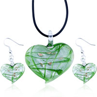 Murano Glass Jewelry - fancy green heart pendant and earrings murano glass jewelry set necklace Image.