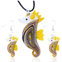 Necklace & Pendants - 3  pieces of yellow sea horse dichroic murano glass pendant earring jewelry set Image.