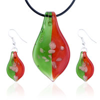 Murano Glass Jewelry - red &  green leaf dichroic pendant earring murano glass jewelry set Image.