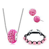 New Year Deals - shamballa bracelets stud earrings pendants charms sets swarovski elements crystal pink Image.