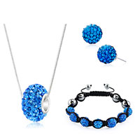 New Year Deals - shamballa bracelets stud earrings pendants charms sets swarovski elements crystal sapphire blue Image.