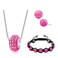 New Year Deals - shamballa bracelets stud earrings pendants charms sets swarovski elements crystal rose pink Image.