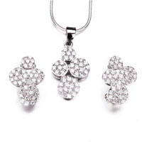 Necklace & Pendants - 3 pieces 4 petals close earring & pendant 925 sterling silver jewelry stud Image.