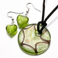Necklace & Pendants - 3  pieces of pale green round heart murano glass pendant earrings set Image.