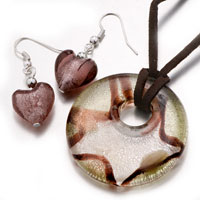 Necklace & Pendants - pale green round heart murano glass lampwork pendant earrings set Image.